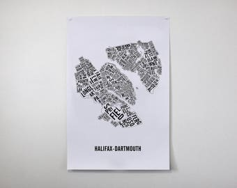 Halifax-Dartmouth City Map - Halifax Art - Halifax Poster - Typo Map - Halifax Gift