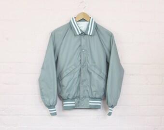 Silver Ladies Varsity Style Bomber Jacket · 80s Varsity Jacket · Silver Varsity Jacket · Silver Bomber Jacket · 90s Bomber Jacket Small · S