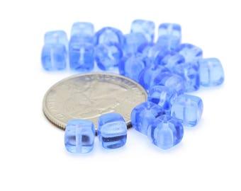 Vintage Blue Cube Beads 6mm 12pcs
