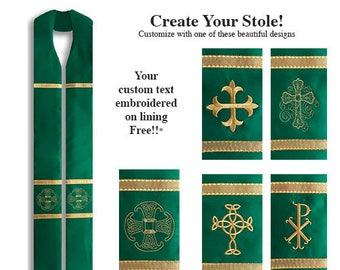 Clergy Stole, Canterbury Cross Stole, Celtic Cross Clergy Stole, Chi Rho Stole, Filigree, Ordinary Time Clergy Stole, Green Clergy Stole
