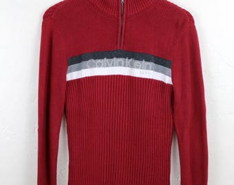 90s Vintage Calvin Klein Jeans Sweater Half Zip Sweatshirt Ribbed Sweater Pullover Sweater Spell Out Embroidered Red Size Large