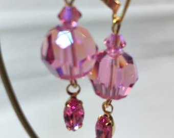 Swarovski Crystal Earrings Rose Pink, Gold Lever backs. New one-of-a-kind