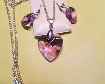 Purple heart necklace and earring set. FREE SHIPPING NO min order