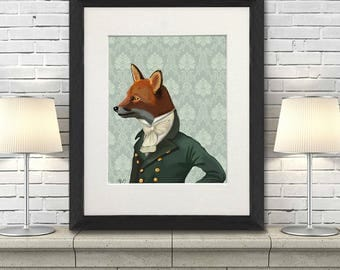 Dandy Fox  Portrait Art Print Illustration Poster  Acrylic Painting Giclee Wall Decor Wall hanging Wall Art Animal Painting