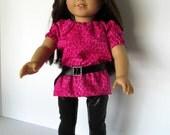 Hot Pink Leopard Tunic , Black Shiny Leggings , black satin ribbon belt , fits 18 inch dolls like American Girl dolls , Girl doll clothes