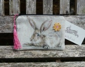 Rabbit Purse Makeup Bag Rabbits Hare Linen Cath Kidston Rare Fabric Cosmetic Pouch Padded Lined Tassel Pull