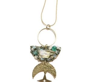 Final Frontier Celestial Necklace with Mixed Crystals, Crescent, and Star