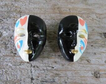 Mask Earrings- Mime Face/Mask 1980's Earrings- Festival Mardi Gras Earrings