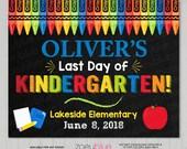 Last Day of School Sign - Boy Last Day of Kindergarten Prek Preschool Chalkboard Sign - Personalized Photo Prop - Printable Digital File