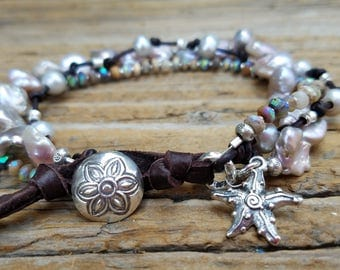 10% OFF SALE, Mystic Opal Bracelet and Sterling Silver, Silver Keishi Pearl Bracelet with Hill Tribe Silver, Pearl and Leather Bracelet