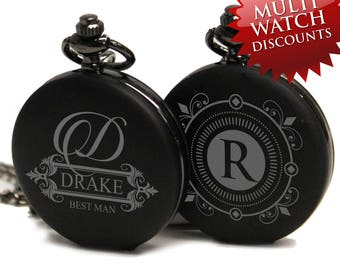 Groomsmen Pocket Watch - Custom Pocket Watch - Groomsmen Gift - Personalized Pocket Watch - Engraved Pocket Watch - Best Man Gift - Black