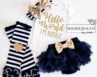 Hello World Custom Name GOLD Glitter with Heart GOLD headband and Gold Legwarmer Set Birth Announcement Bodysuit