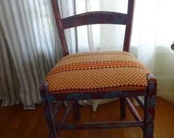 Vintage Hippie Bohemian Embossed Look Chair Blue Red