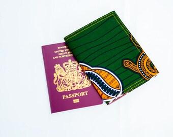Passport Holder- Passport Cover-  African Print Passport - Passport Wallet - Passport cover - Womens Purse - Forest green