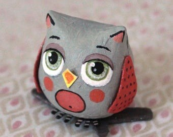 Mini Grey and pink OWL on a branch