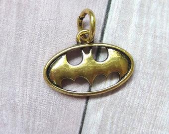Gold Batman Logo Charm DC Comics Jewelry Making Supplies