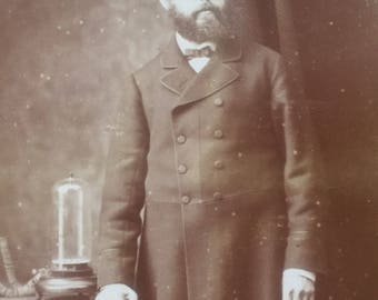 Fabulous Victorian Cabinet Photo - Handsome Man - Scientist with Invention