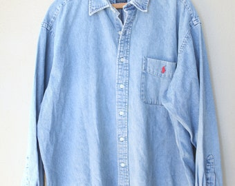 vintage ralph lauren distressed oversized blue industrial chambray denim shirt