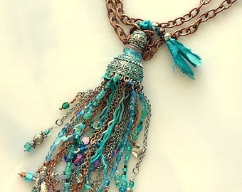 Long Hand Beaded One of a Kind Tassel Necklace Turquoise Blue Lavender Mixed Metals Sari Silk Chains Necklace - Wearable Art