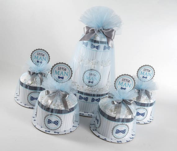 Diaper Cake Set - Baby Boy Diaper Cake Set - Baby Shower Decor - Little Man Theme- Bow Tie Baby Shower - Baby Shower Centerpieces