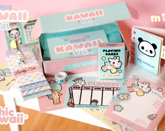 Miniature dollhouse. Chic kawaii box with lovely 6-7 items inside.