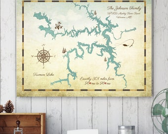 Lake House Decor, Anniversary Gift, Rustic Home Decor, Lake Decor, Lake House Sign, Lake Map, Lake House, Lake House Art, Custom Lake Map