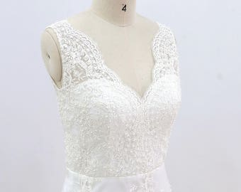 Full Lace Beading Wedding Dress with Sheath Skirt V Neckline Bridal Gown