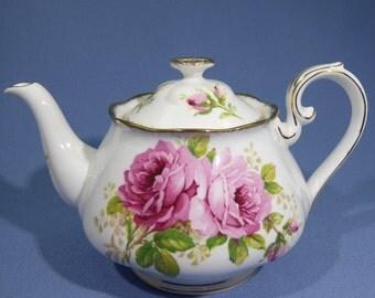 Royal Albert American Beauty Teapot, Beautiful Pink Rose Teapot, Fine Bone China, Made in England ~ 1940's