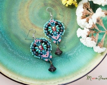 Bohemian macrame earrings, floral, boho, gypsy, beaded, micro-macrame jewelry, beadwork, beadwoven, turquoise teal pink orange, gift idea