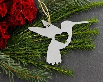 Love Hummingbird Christmas Ornament Rustic Aluminum Holiday Home Gift for Her Him Decor Wedding Favor Iron Maid Art Bird Stocking Stuffer