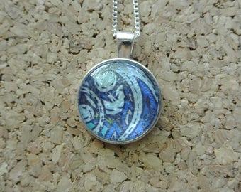 Blue Paisley Pendant Necklace