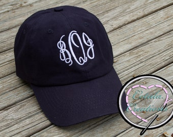 Monogrammed Navy Ladies Baseball Cap - Monogrammed Cap - Monogrammed Hat - Bridesmaid Gift - Birthday Gift - Monogram Baseball Cap