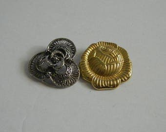 Pair of Vintage Gold and Silver Scarf Clips