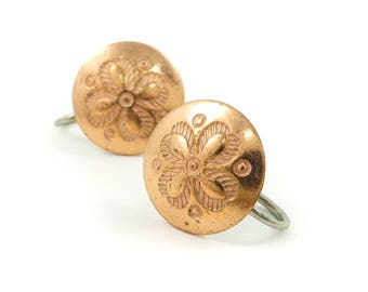 Vintage Stamped, Copper Earrings, Round, Screw Backs, STF25