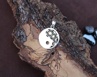 Yin-Yang Silver Plated Pendant, Flower of Life, 3D Brass Pendant, Spiritual White Brass Pendant, Sacred Geometry, Pendentif Fleur de Vie