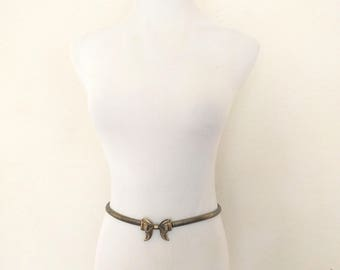 Vintage skinny gold metal belt bow ribbon buckle stretch stretchy