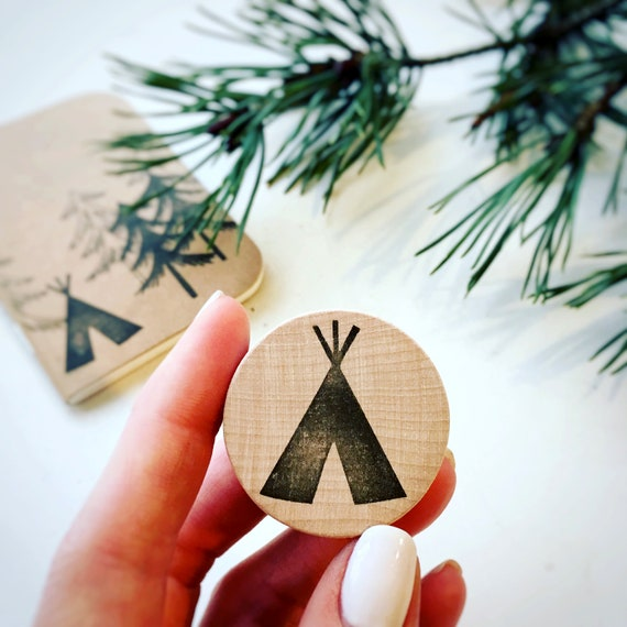 Tipi Rubber Stamp - Teepee - Tipi - Hand Carved Rubber Stamp - Little Stamp Store - Rubber Stamp - Clear Stamp - Pink Rubber Stamp
