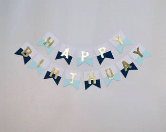 Gold Foil Birthday Banner (Navy and Teal)