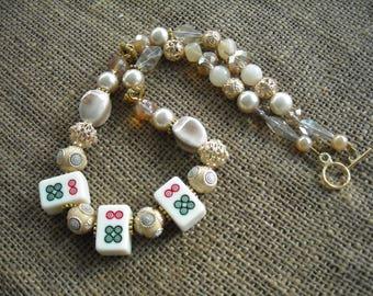 Mahjong Necklace - Beige Mahjong Necklace  - Mahjong Gift - Jesse James Beads - Mah jong Jewelry - Gift Idea