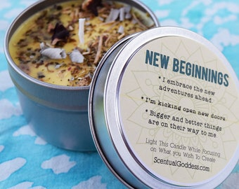 NEW BEGINNINGS Intention Herbal Candle - Start a New Chapter - Welcome New Opportunities Open New Doors Transform Rise Up