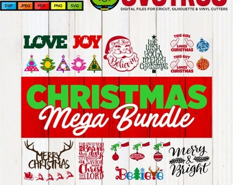 Christmas Bundle SVG Christmas SVG Don't Stop Believing SVG Christmas Antlers svg Believe svg Merry and Bright svg Christmas Monogram svg