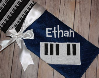 Music Blanket -Piano- Personalized Minky Baby Blanket -  Music Print