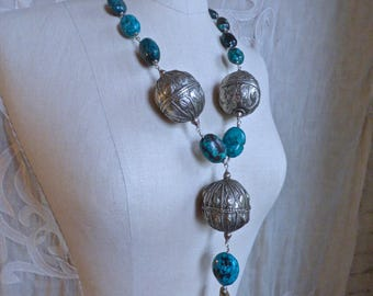 Turquoise Deer Antler and Silver Bead Necklace II