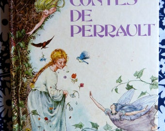 Children fairytale book 1976 NATHAN Contes de Perrault - illustrations by G & S Tourett - French 70s vintage