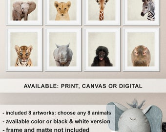 Set of 8 Safari animal prints, African baby animals, Zoo animal prints, Safari Nursery animal decor, Baby animals Jungle Print/Canvas/Digi