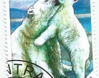 3 Polar Bear Used Postage Stamps