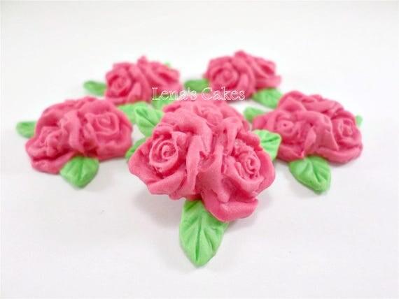 24 pink fondant edible flowers sugar roses cupcake topper cake il570xn mightylinksfo