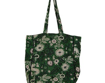 KANTHA Bag - Carry size - Off White Flowers on Bottle Green