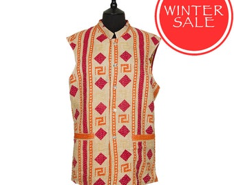 WINTER SALE - KANTHA Waistcoat - Beige red and orange. Reverse red and off white - Large size