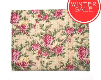 WINTER SALE - Tablet Sleeve / Clutch Bag - Pink Small Rose Pattern with Cream Background
